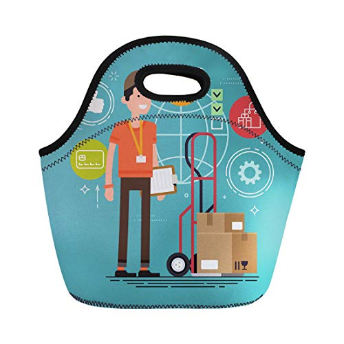 - Semtomn Lunch Bags Cool Courier Character Delivery Cart Boxes and Clipboard Shipping Neoprene Lunch Bag Lunchbox Tote Bag Portable Picnic Bag Cooler Bag