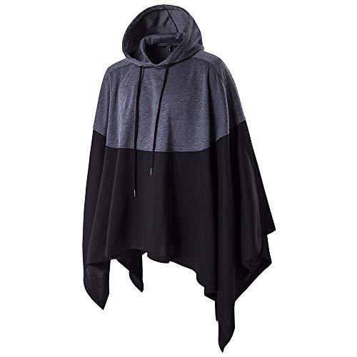 Beautyfine 2019 Mens Cape Coat Irregular Patchwork Loose Bat Sleeves Hooded Poncho Tops (M to 5XL) ()