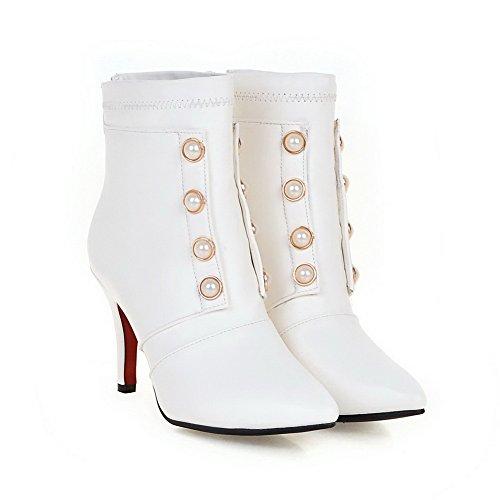 AgooLar Damen Rein Blockabsatz Reißverschluss Hoher Absatz Stiefel, Weiß, 36