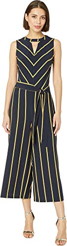 eci Women's Striped Neck Keyhole Wide-Legged Jumpsuit with Self Tie Navy Large ()