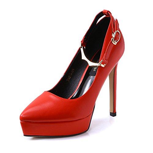 Zapatos El tacón y YMFIE Solo Damas Parte de enredo Nuevo Banquete Alto Sexy cómodos de Zapatos gules de Muelle Elegante zqqPdRgCw