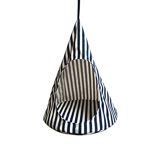 laamei Cat Tent Hammock, Cat House Bed, Pet Triangle Bed Hanging Cone Shaped Cave Beds with Removable Cushion for Puppy Kitten Rabbits Cats Other Small Animals Small Blue Stripe (131317 Inches)