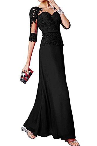 mit Damen Etuikleider mia Braut Abendkleider Brautmutterkleider La Langarm Spitze Schwarz Tanzenkleider 0fq7wwE