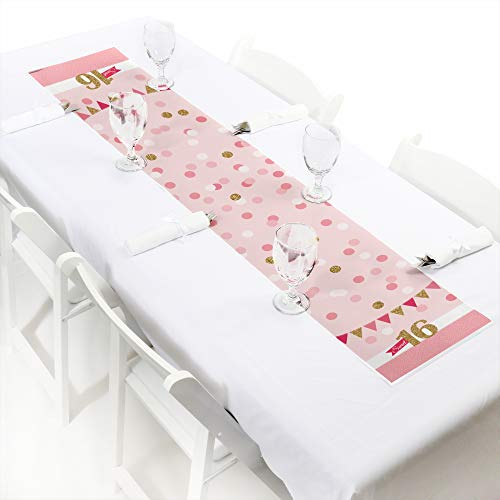 Big Dot of Happiness Sweet 16 - Petite Birthday Party Paper Table Runner - 12'' x 60'' by Big Dot of Happiness