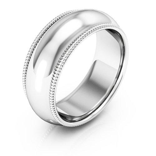 Platinum men's and women's plain wedding bands 8mm milgrain comfort fit, 10.5