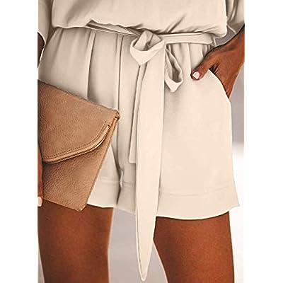 NUOREEL Women's Casual High Waist Self Tie Belt Romper Short Bell Sleeve One Piece Jumpsuit: Clothing