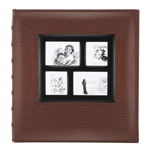Artmag Photo Picutre Album 4x6 600 Photos, Extra Large Capacity Leather Cover Wedding Family Photo Albums Holds 600 Horizontal and Vertical 4x6 Photos with Black Pages (Brown)
