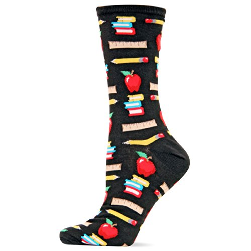 Hot Sox Women's Originals Classics Crew Socks, Teacher's Pet (Black), Shoe 4-10/Sock Size 9-11