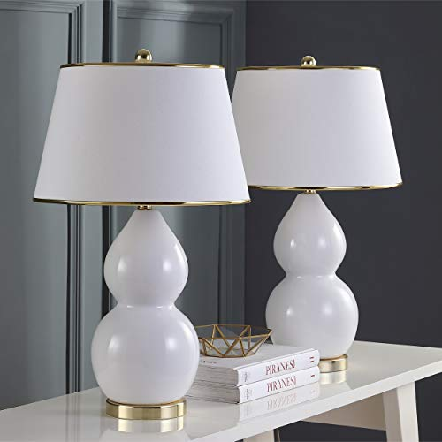 Safavieh Lighting Collection Jill White Double Gourd 25.5-inch Table Lamp (Set of - Gourd White