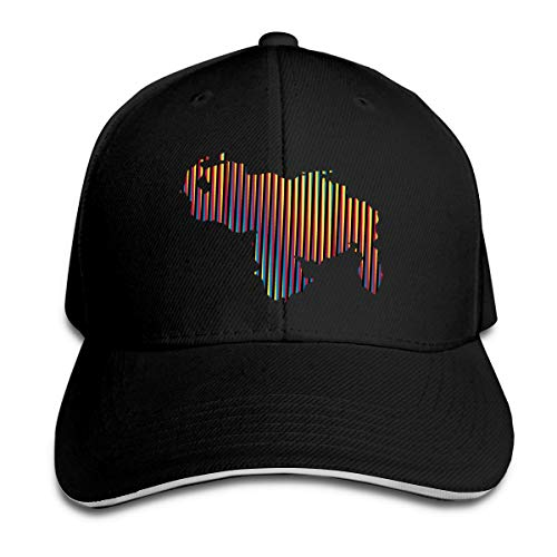Colored Venezuela Map Adjustable Baseball Cap Unisex Dad Hats Sandwich Caps (One Size, Black)