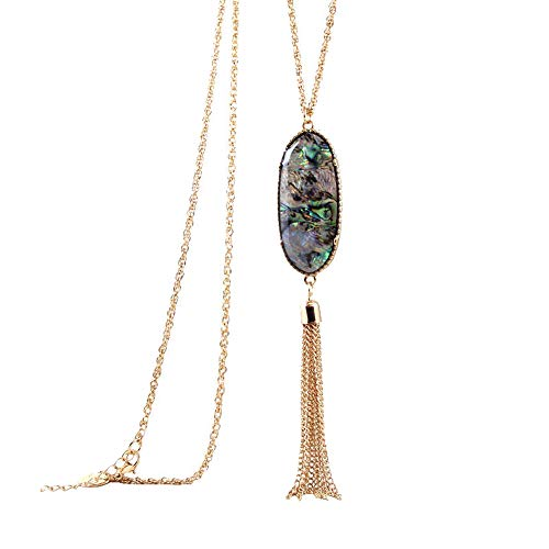 YUJIAXU Gold Abalone Shell Purple Druzy Stone Long Tassel Necklace Turquoise Druzy Pendent Necklace 2019 Best Gift for her (Abalone ()