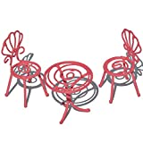 jeremie Party Table and 2 Chairs, Color Choices for Miniature Garden, Fairy Garden, Pink Review