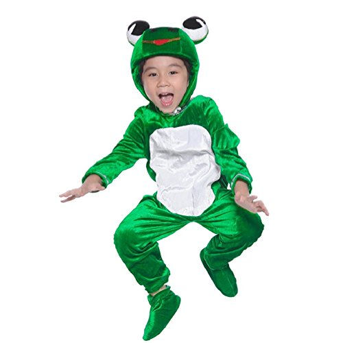 Deluxe Child Frog Costume One-Piece Animal for Kids School Play Party Attach Shoe Cover 4T-10 (7)
