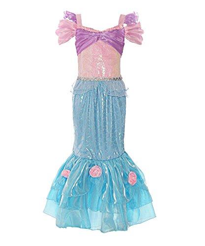 ReliBeauty Girls Sequin Mermaid Costume Princess Dress up,