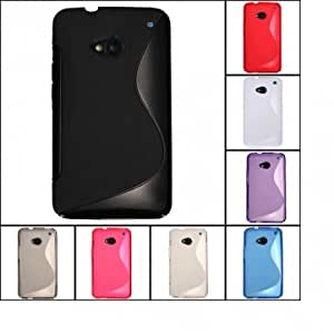 S Line Wave Shape Design TPU Gel Case Cover Skin For HTC ONE M7 @ Color==Gray