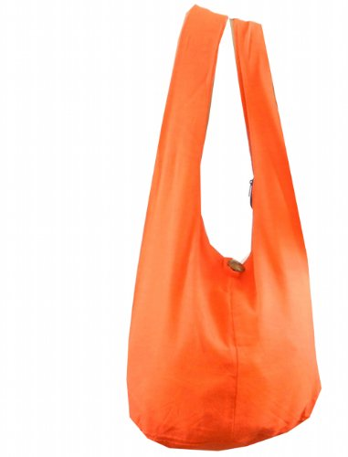 BTP! Thai Monk Buddha Cotton Sling Crossbody Messenger Bag Shlouder Purse Hippie Hobo Medium (Orange 16)