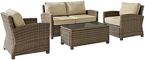 Crosley Furniture KO70024WB-SA Bradenton Outdoor Wicker 4-Piece Seating Set Loveseat