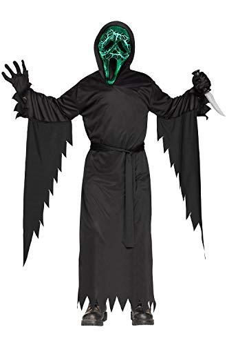 Fun World Big Boy's Smoldering Ghost Face Child Costume Childrens Costume, Black, ()