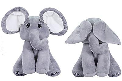 OMGOD Plush Toy peek-a-Boo Elephant, Hide-and-Seek Game Baby Animated Plush Elephant Doll Present - Gray