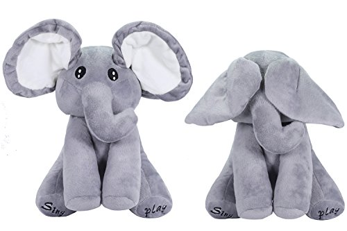 (OMGOD Plush Toy peek-a-Boo Elephant, Hide-and-Seek Game Baby Animated Plush Elephant Doll Present - Gray)