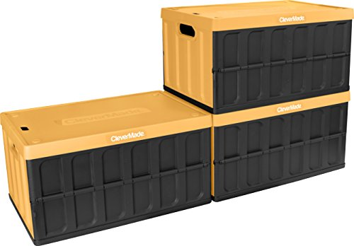 CleverMade CleverCrates 62 Liter Collapsible Storage Bin/Container: Solid Wall Utility Basket/Tote with Lid, Yellow, 3 Pack