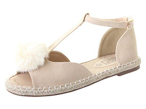 Tilly London Womans Ladies Flat Pom Pom T Bar Espadrilles Summer Beach Sandals Silver Glitter Black Nude Beige Shoes UK Size 3 4 5 6 7 8 Beige ayl1NsM