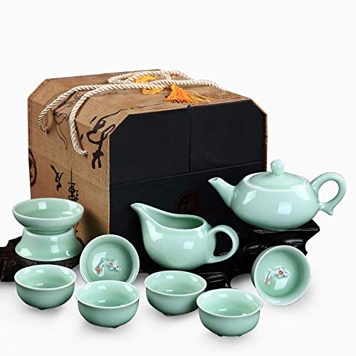 Home&garden accessories 10 in 1 Celadon Ceramic Tea Set Kung Fu Pot Infuser Teapot 3D Fish Serving Cup Teacup Chinese Drinkware with Display Gift Box by JIANGHONGYAN