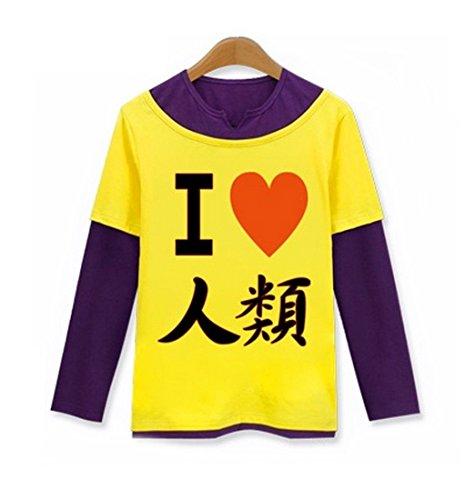 AnimeTown No Life No Game Costume Anime Long Sleeves Tee T-Shirt (L, Yellow and (Saint Gabriel Costume)