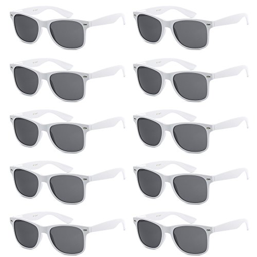 (WHOLESALE UNISEX 80'S STYLE RETRO BULK LOT SUNGLASSES (Ultra Pure White,)