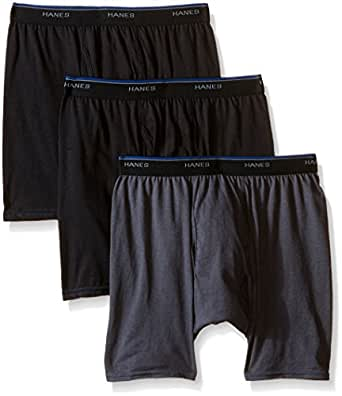 Hanes Men's 3 Pack Comfort Blend BoxerBrief, Black/Grey, Small