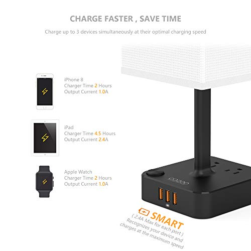 COZOO USB Bedside Table & Desk Lamp with 3 USB Charging Ports and 2 Outlets Power Strip,Black Charger Base with White Fabric Shade, LED Light for Bedroom/Nightstand/Living Room by cozoo (Image #4)