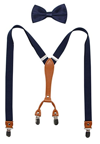 Biotetri Men Suspenders & Pre Tied Bowtie Set | Adjustable Straps, PU Leather