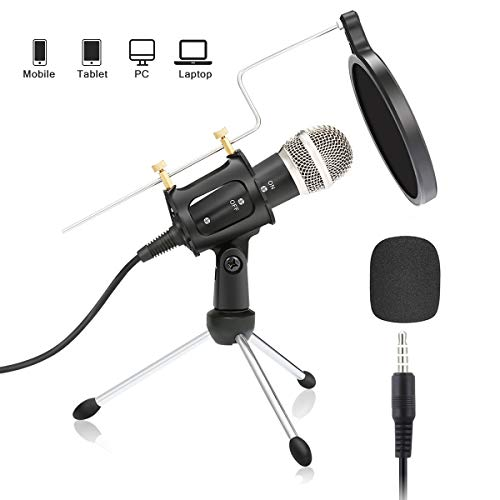 (Condenser Microphone,NASUM 3.5mm Recording Microphone Plug and Play,Computer Microphone with Filter Suitable for Voice Recording,Podcasting,Skype,YouTube,Games,Google Voice Search)