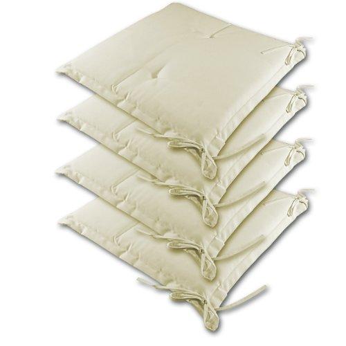 4 Kissen Sitzkissen Stuhlkissen Stuhlauflage Hochlehner Auflage Sitzauflage Creme