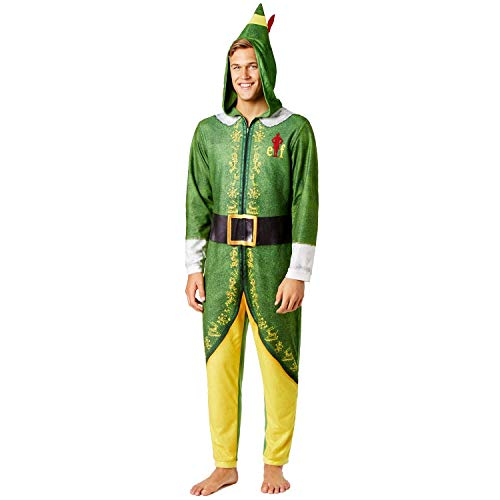 Warner Bros. Men's Buddy The Elf Hooded Uniform Union Suit  Green Velvet  -