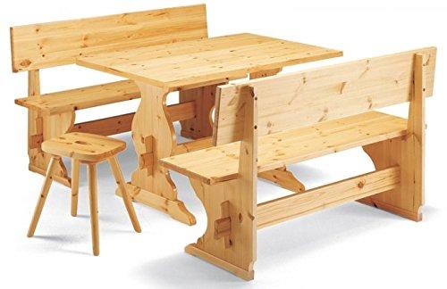 Holztisch mit 2 Bänke Kiefernholz natur lackiert