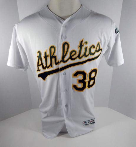 1ee57ce2b49 2018 Oakland Athletics A s Nick Martini  38 Game Issued White Playoff Jersey  - Game Used MLB Jerseys at Amazon s Sports Collectibles Store