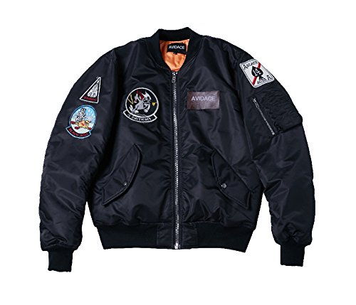 AVIDACE Classic Bomber Jacket Men Nylon Quilted with Patches Size XL (Patch Bomber)