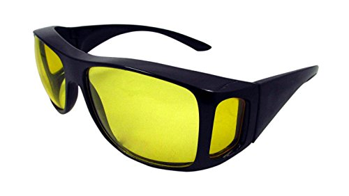 ELLITE HD Night Vision Driving Wraparound Fit Over Prescription EyeGlasses Goggles