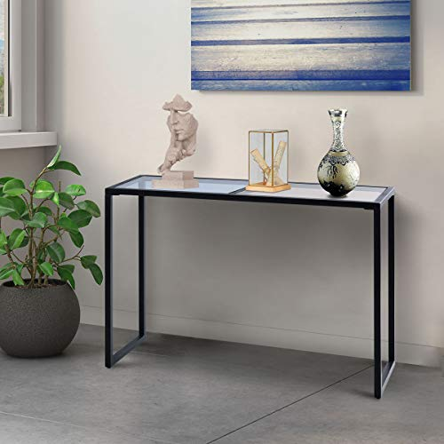 Tangkula Modern Console Sofa Table Tempered Glass Metal Frame Hallway Entryway Furniture Blue& Tan ()