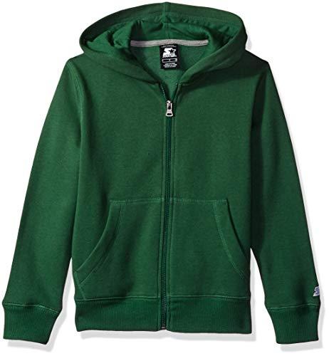 (Starter Boys' Solid Zip-Up Hoodie, Amazon Exclusive, Team Outfeild Green, L)