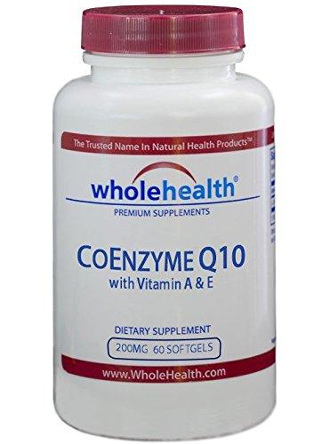 WholeHealth - Coenzima Q10 (CoQ10) 200mg 60 cápsulas blandas, líquidas