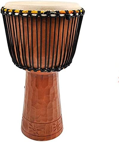 子供たちが学ぶのに適したドラム 12インチアフリカンドラム楽器西アフリカのボンゴドラム手作りのクラフトゴートスキンジャンベカービング (色 : Wood, サイズ : 12 Inch)