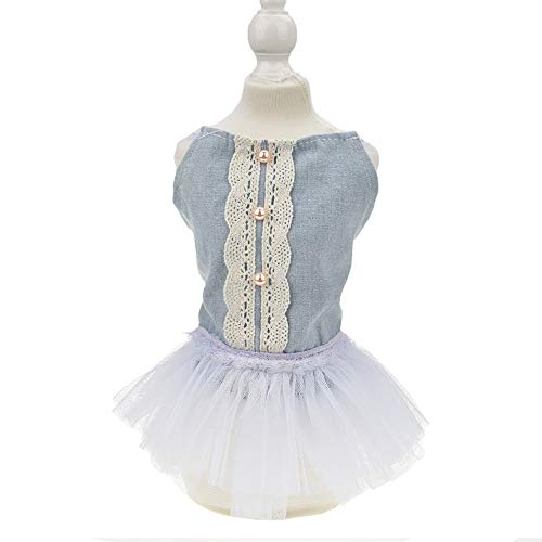 (FLAdorepet Pearl Denim Dog Party Dress Tutu Skirt Summer Small Cats/Dogs Vest Clothes Shirt for Teddy, Shih Tzu, Yorkshire Terriers (L, Blue))