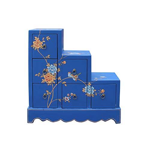 Oriental Bright Blue Color Small Step Tansu Cabinet Acs5016 (Cabinet Step Tansu)