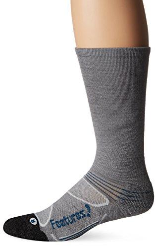 Feetures! Men's Elite Merino+ Cushion Crew, Gray + Pacific Blue, Small