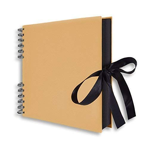 "Scrapbook, 12x9"" Photo Album 40 Black Pages, Great for Craft Paper Anniversary Gifts, Wedding Guest Book, Mothers' Day DIY Photo (Brown-3)"