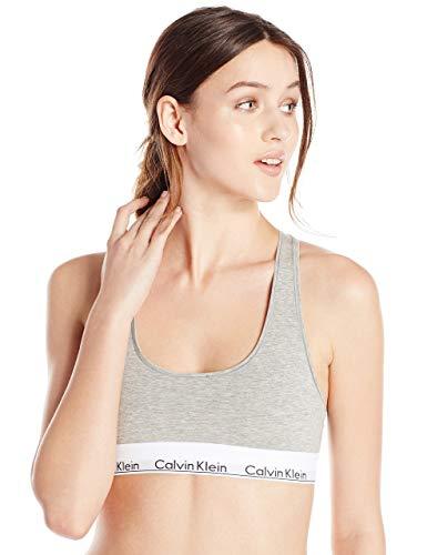 Calvin Klein Bralette de algodón moderno regular para mujer, gris jaspeado, pequeño