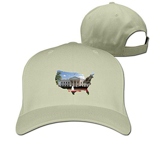 Men Women The White House,Map Sport Snapback Peaked Flat Hats Natural Unisex