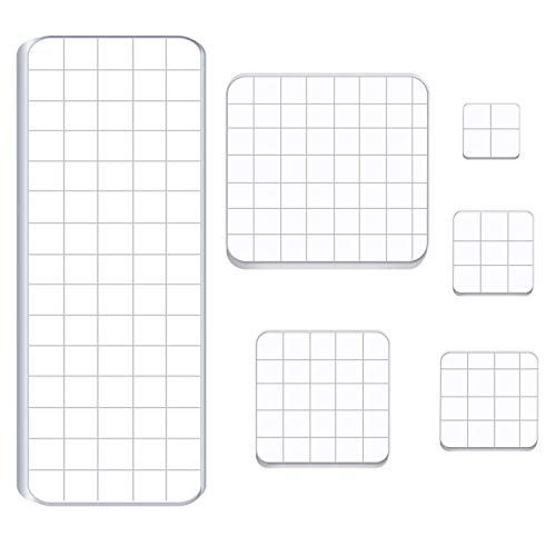 Luckkyme 6 Pieces Acrylic Stamp Block Clear Stamping Tools Set with Grid Lines for Scrapbooking Crafts Card Making, 6 - Stamp Sets Line